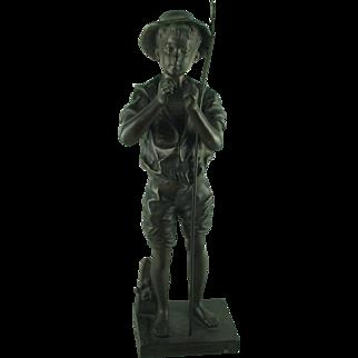 Antique French Bronze Statue Lavergne Pecheur
