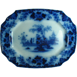 Antique Flow Blue Platter SCINDE  16 Inch Alcock Staffordshire