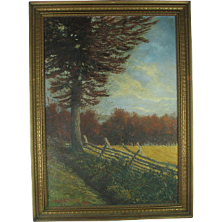1930s Oil Painting Landscape signed