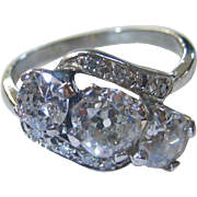 Vintage Platinum 3 Stone Diamond Ring 2 ctw