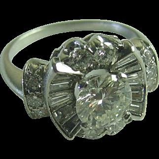 Vintage Diamond Platinum Cocktail  Ballerina Ring Round Brillian Center