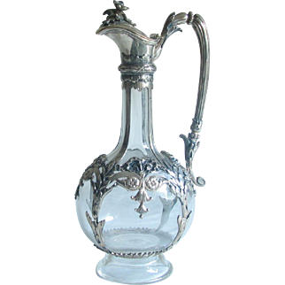 Antique  Silver Mounted Wine / Claret Decanter /  Bottle  Repousse Signed marked European old world JCK