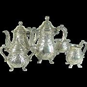 Vintage Sterling Silver Teaset Five Piece Coffee Pot Tea Pot Sugar Creamer Waste Bowl  Repousee Decoration set