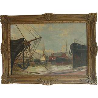 Vintage Dutch Harbor Oil Painting