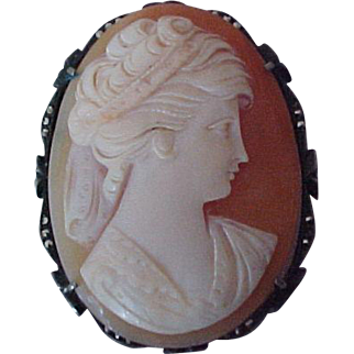 Vintage Carved Cameo Beautiful Woman Pin / Pendant  Marcasite