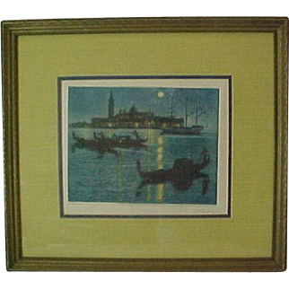 Vintage F Marriot Print Aquatint Venice 1921 Frederick Marriot Artist