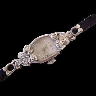 Vintage Longines 14K Gold Diamond Wrist Watch Ladies Ribbon / Bows
