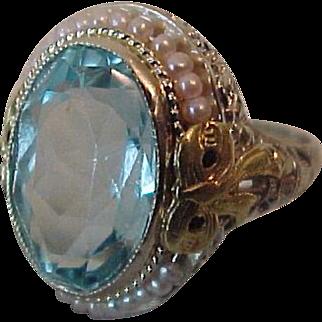 Vintage 5 ct Aquamarine 14K Gold Ring Two Color Filigree Bows Pearls
