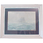 Carl Oscar Borg Watercolor Painting Marine Seacape