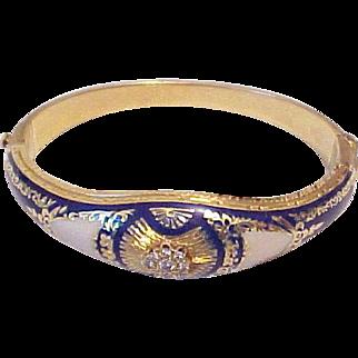 Vintage 18 k Gold Bracelet Hinged Bangle solid With Enamel And Diamonds