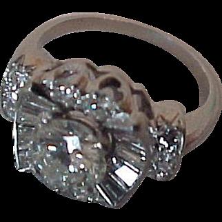 Vintage Platinum Diamond Ring GIA .95 Center, Baguette, Round Sides Elegant