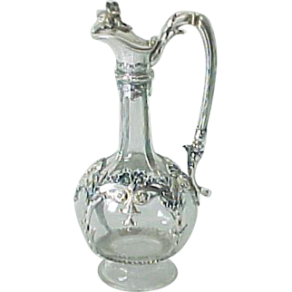 Antique 800 Silver Mounted Glass Claret Jug JCK Austrian J C Klinkosch