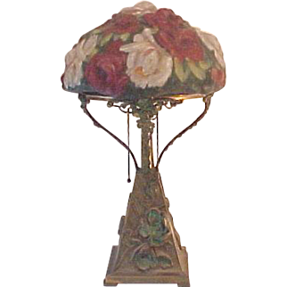 Antique Pairpoint Puffy Rose Bouquet Table Lamp Repousse Poppy Base