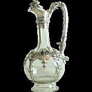Antique Silver Mounted Crystal Claret Jug Austria J C Klinkosch