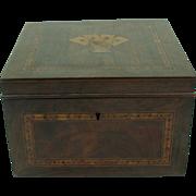 Antique Tunbridge Ware Box Inlaid Playing Cards