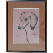 Fine vintage portrait of a sweet Dachshund signed, dated and titled