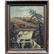 Very Cool Antique Oil on Canvas Folk Art Tropical Painting, Signed, Late 1800s