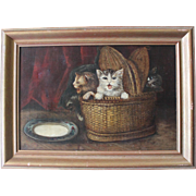 Large Antique Framed Oil on Canvas of 4 Kittens in a Basket Circa 1880 Delightful!