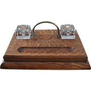 Antique Oak Inkstand with Wood Inlay And Two Glass Inkwells