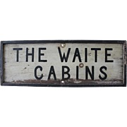 Antique Folk Art Sign/WAITE LODGE & CABINS/Swanton VT/Photo of Lodge on Reverse