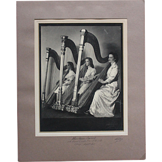 Large Vintage Signed Photo of Three Women with Harps/Dated 1951