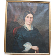 Large Antique Oil on Canvas Portrait/Pretty Woman with Book/circa 1870/Label from Wunderling Bros. Fine Art Dealers Pittsburgh