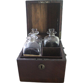 Antique Traveling or Personal Apothecary Chest/3 Bottles with Pontils/Circa 1850/Charlestown, MA