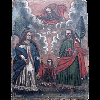 Large 18th Century Spanish Colonial Painting/Holy Family/Sagrada Familia