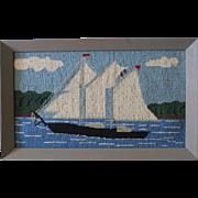 Vintage Folk Art Needlepoint of a Sailboat Under Sail/1940s-50s/Very Cheery!