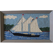Vintage Folk Art Needlepoint of a Sailboat Under Sail/1940s-50s/Very Cheery!