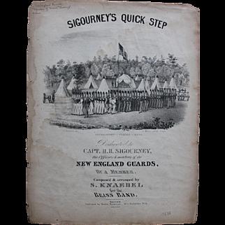 Sigourney's Quick Step Sheet Music/1838/Art by Charles Hubbard/Prentiss Pub.