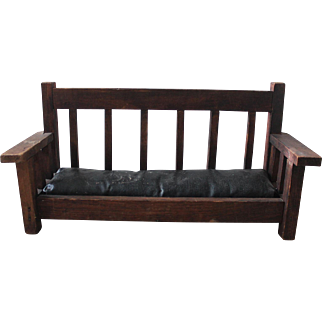 Antique Mini Arts & Crafts Bench/Leather Seat/Signed Hardwick/Salesman Sample or Doll Furniture?