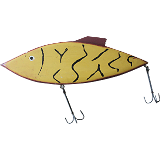 Giant Mid-Century Modern Colorful Vintage Hand-Made Wooden Folk Art Fishing Lure