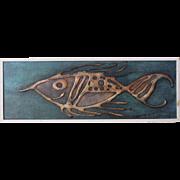 Vintage Abstract Fish Painting by San Francisco Beat Era Artist Bertuccelli/1967