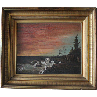 Antique Framed Oil on Canvas/Romantic Gothic Seascape/Maine/Signed/Listed/1870s