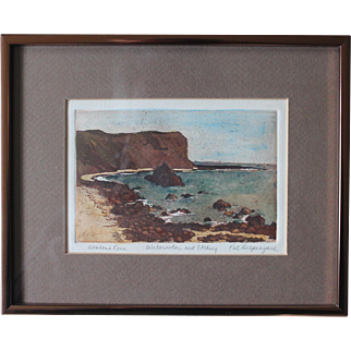 Vintage Watercolor & Etching of Abalone Cove, CA/By Pat Dispenziere/Circa 1975