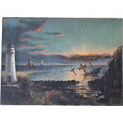 Antique Signed Oil Painting/Lighthouse Keeper/Morning After the Storm/1880s