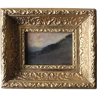 Antique Tonalist Oil Painting signed George Whitaker/Listed/Gold Leaf Frame
