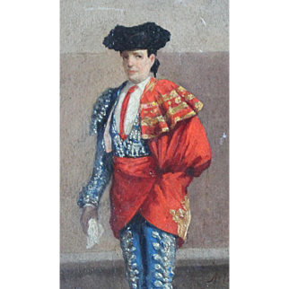 Rare Antique Oil Painting of Woman Matador/Dona Maria/Signed/Late 1800s
