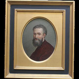 Fine Gilt Framed Oil Painting of Michelangelo/ Self Portrait/1860s-1870s/Old Master/Grand Tour