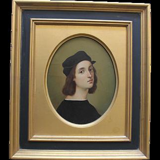Fine Gilt Framed Oil Painting of Raphael/ Self Portrait/1860s-1870s/Old Master/Grand Tour