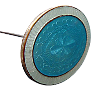 Vintage Hat pin: champleve enamel over copper