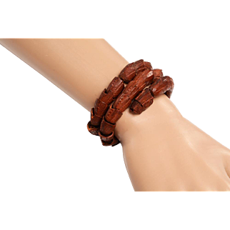 Carved Wooden Dragon Bracelet on Coiling Memory Wire
