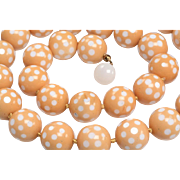 Yellow and White Cased Glass Bead Necklace