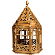 1930's TRAMP ART Bird Cage with fretwork detail: original gold paint