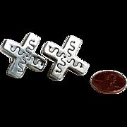 Mid Century Modern Sterling Silver Earrings