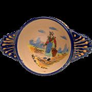 Early H.B. Quimper Soup, Bouillon Bowl: Pre 1942