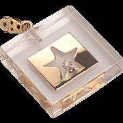 Mid Century Charm Pendant: Lucite, 14kt gold, small diamond