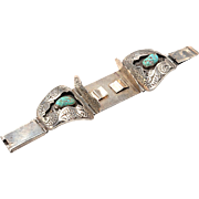 Navajo Watch Band Silver, Turquoise: B. Nez