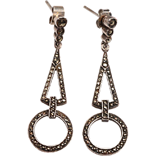 Vintage Marcasite and Silver Dangle Earrings